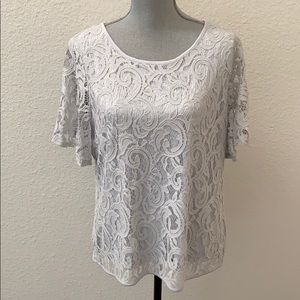 Adrianna Papell flutter sleeve lace top XL New NWT